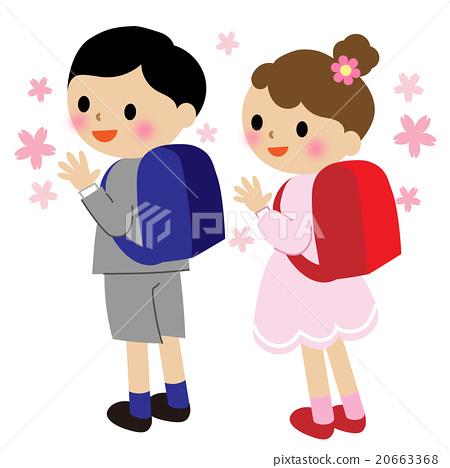 小學生背著書包-插圖素材 [20663368] - PIXTA圖庫