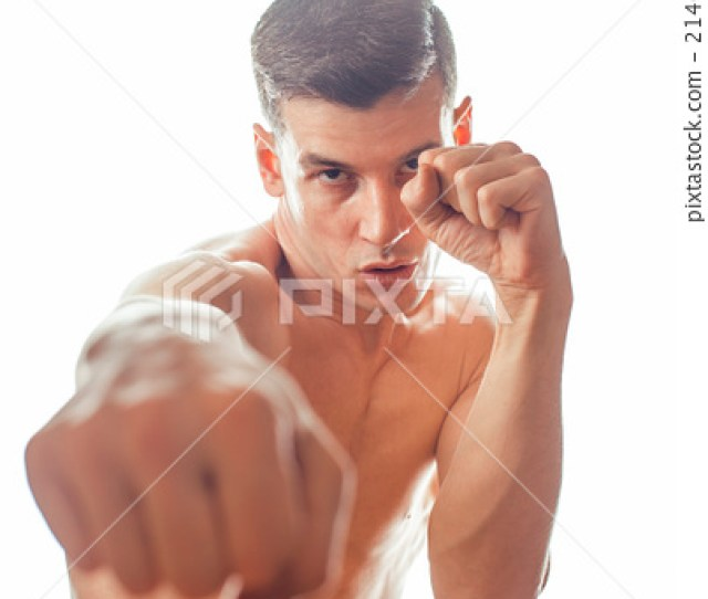 Young Handsome Naked Torso Man Boxing On White