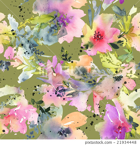 abstract watercolor flowers seamless