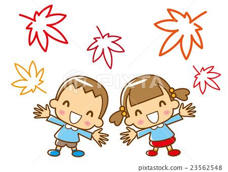 楓葉可愛的幼兒園-插圖素材 [23562548] - PIXTA圖庫