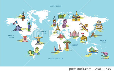 World Map with Famous Country Landmark Symbol Stock