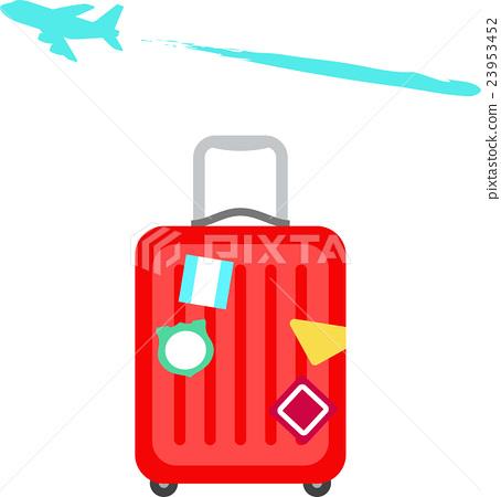 出國旅遊,一路散步到扇形車庫的『散步扇庫』,圖庫,或許是對於相片素材的需求較大,手提箱和飛機-插圖素材 [23953452] - PIXTA圖庫