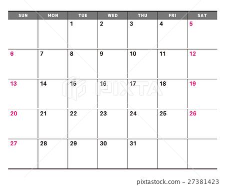 虛構的日曆-插圖素材 [27381423] - PIXTA圖庫
