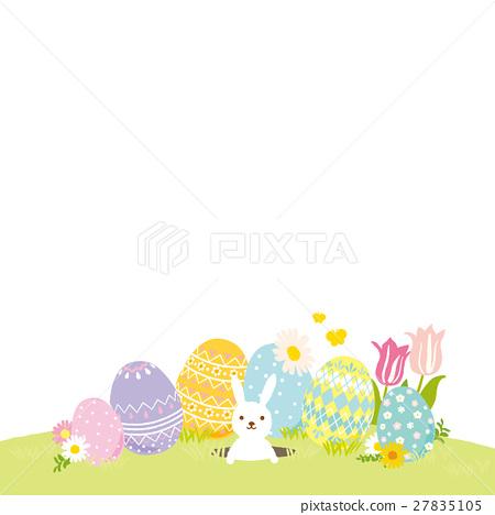復活節彩蛋和兔子-插圖素材 [27835105] - PIXTA圖庫
