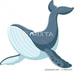 Happy blue whale cartoon Stock Illustration [27864164] PIXTA