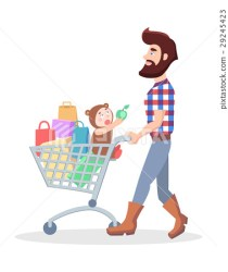 Family Shopping Cartoon Flat Vector Concept Stock Illustration [29245423] PIXTA