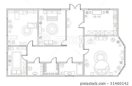 Abstract Vector Plan Of Three Bedroom