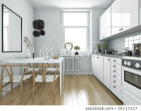 scandinavian vintage kitchen with dining table -  ...