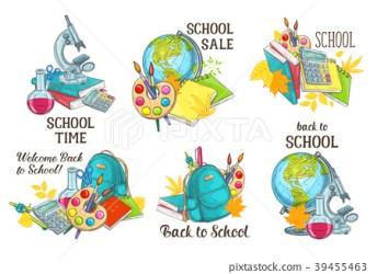 Back to School vector study stationery icons Stock Illustration [39455463] PIXTA