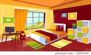 bedroom cartoon background illustration vector boy teenager interior bed furniture teen chair student desk drawing teenage bedrooms shutterstock drawer backpack