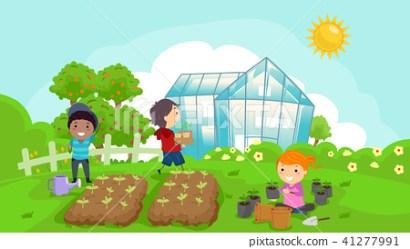 Stickman Kids Green House Outdoor Garden Stock Illustration [41277991] PIXTA