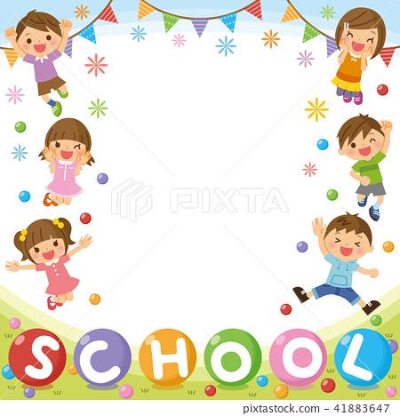 """兒童框架""""學校""""-插圖素材 [41883647] - PIXTA圖庫"""