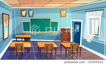 cartoon empty school college classroom Stock Illustration [42444422] PIXTA