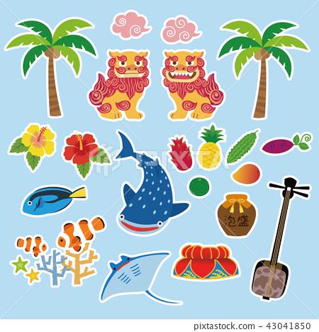 沖繩旅遊特產材料插圖-插圖素材 [43041850] - PIXTA圖庫
