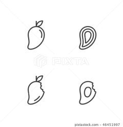 Mango fruit icons outline stroke set design Stock Illustration [46451997] PIXTA