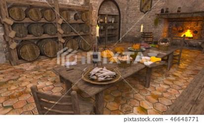 Medieval kitchen Stock Illustration [46648771] PIXTA