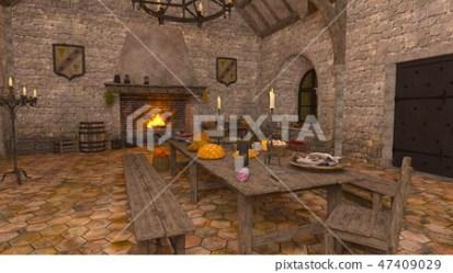 Medieval kitchen Stock Illustration [47409029] PIXTA