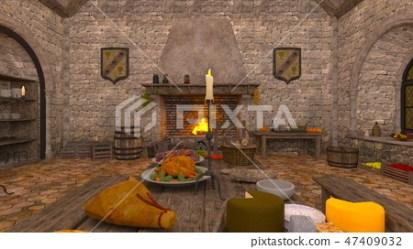 Medieval kitchen Stock Illustration [47409032] PIXTA