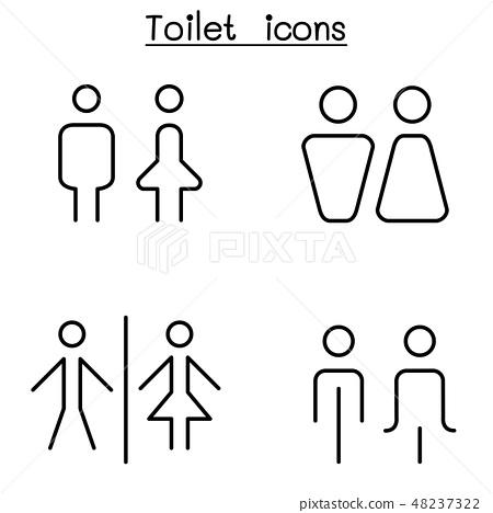 Toilet Restroom Bathroom Icon Set In Thin Line Stock Illustration 48237322 Pixta