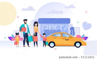 Family Shopping and Taxi Service Flat Cartoon Stock Illustration [51111651] PIXTA