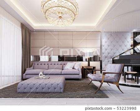 Modern Classic New Art Deco Living Room Interior Stock Illustration 53223998 Pixta