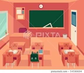 Empty classroom interior with blackboard and Stock Illustration [54590694] PIXTA