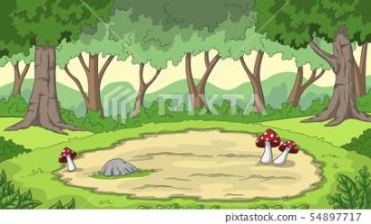 Cartoon Forest Background Stock Illustration [54897717] PIXTA