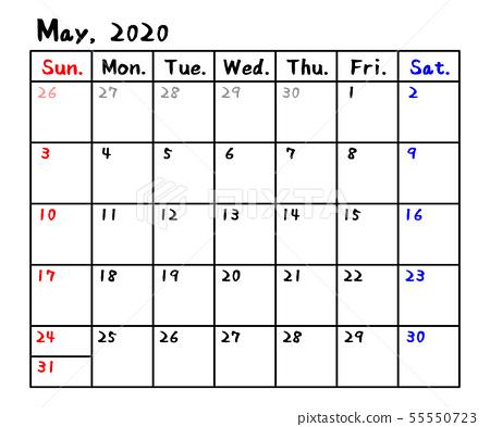 日曆2020年2-插圖素材 [55550723] - PIXTA圖庫