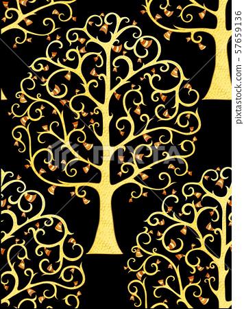 Art Nouveau Tree : nouveau, Life., Nouveau, Style, Stock, Illustration, [57659136], PIXTA