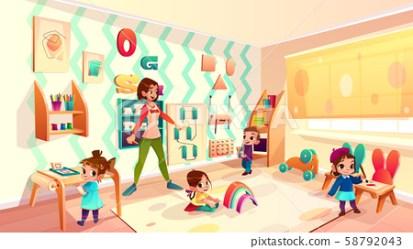 Kids in Montessori school classroom cartoon Stock Illustration [58792043] PIXTA
