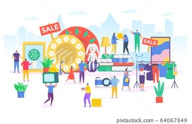 Flea market vector illustration cartoon flat Stock Illustration [64067849] PIXTA