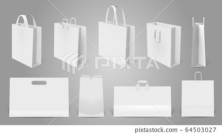 Layered psd through smart object insertion. Realistic Shopping Bag White Paper Empty Bags Stock Illustration 64503027 Pixta