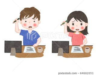 Online class college student home study troubled Stock Illustration [64682051] PIXTA