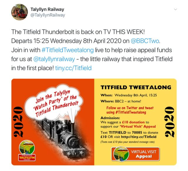 Twitter users can follow the topic using the hashtag #TitfieldTweetalong