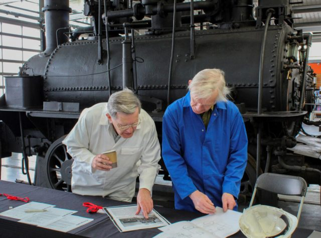 Dr Michael Bailey and Peter Davidson with the Hetton locomotive.