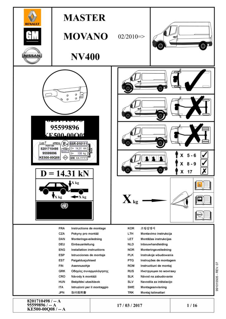 standard tow bar fitting manual for master iii fourgon