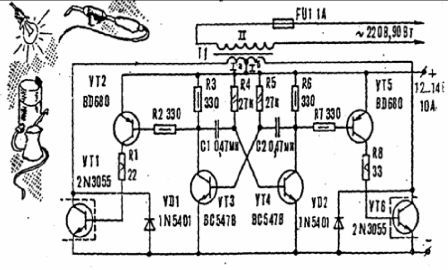 how to get alternating voltage of 220 V from a 12 volt