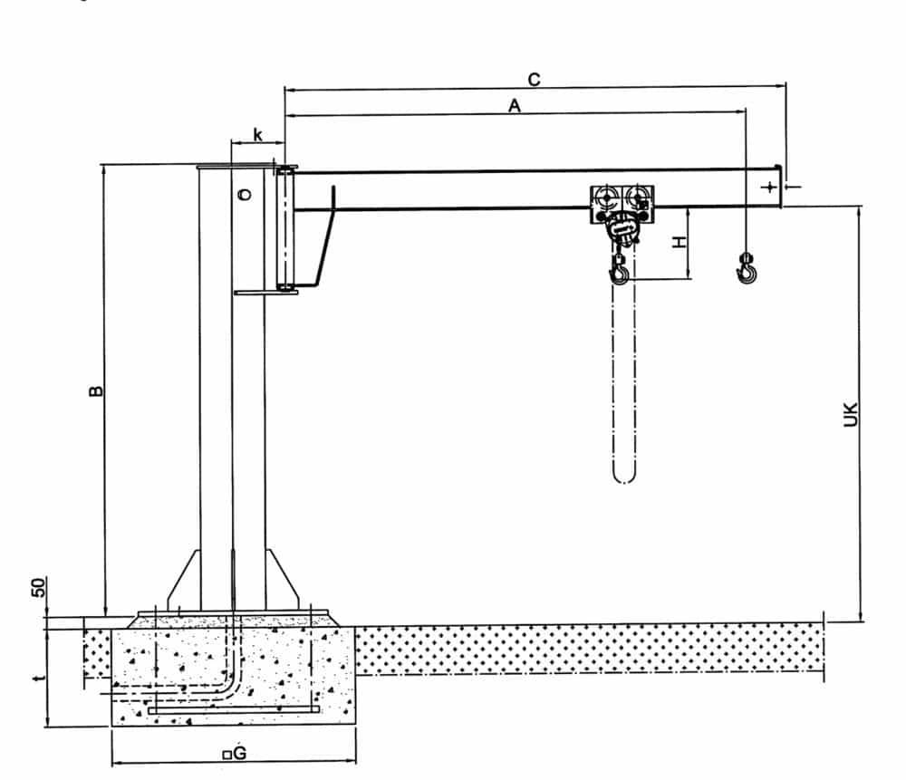 hight resolution of drawing pillar jib crane hadef 360 01 h