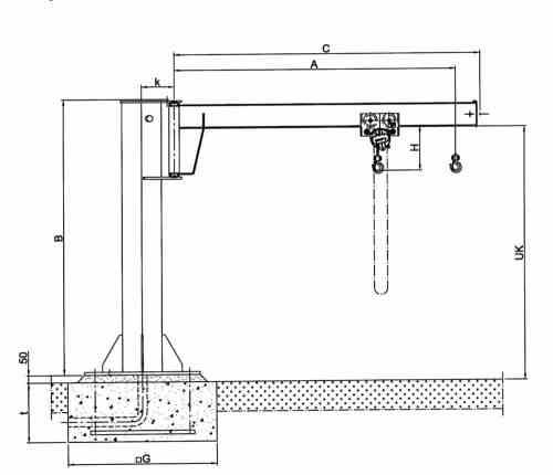 small resolution of drawing pillar jib crane hadef 360 01 h