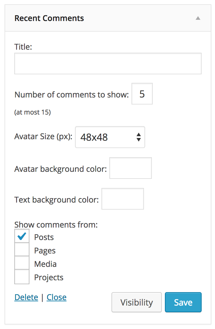 Screenshot of options for the Recent Comments widget