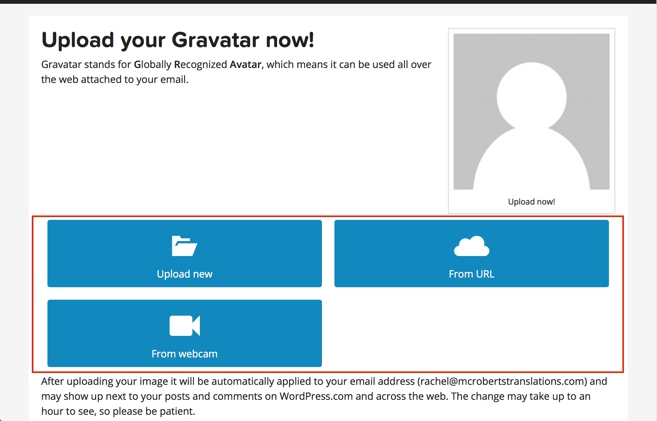 Upload your Gravatar now