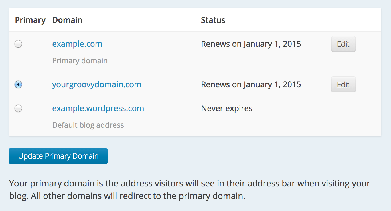 Screenshot of the My Domains page showing different domain options