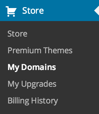 Store - My Domains menu