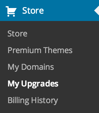 Store - My Upgrades menu