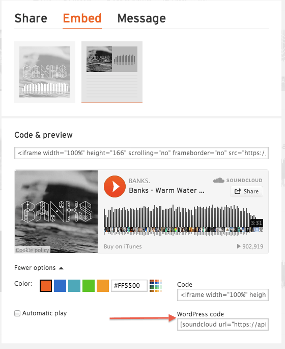 SoundCloud - Track - Embed - More Options
