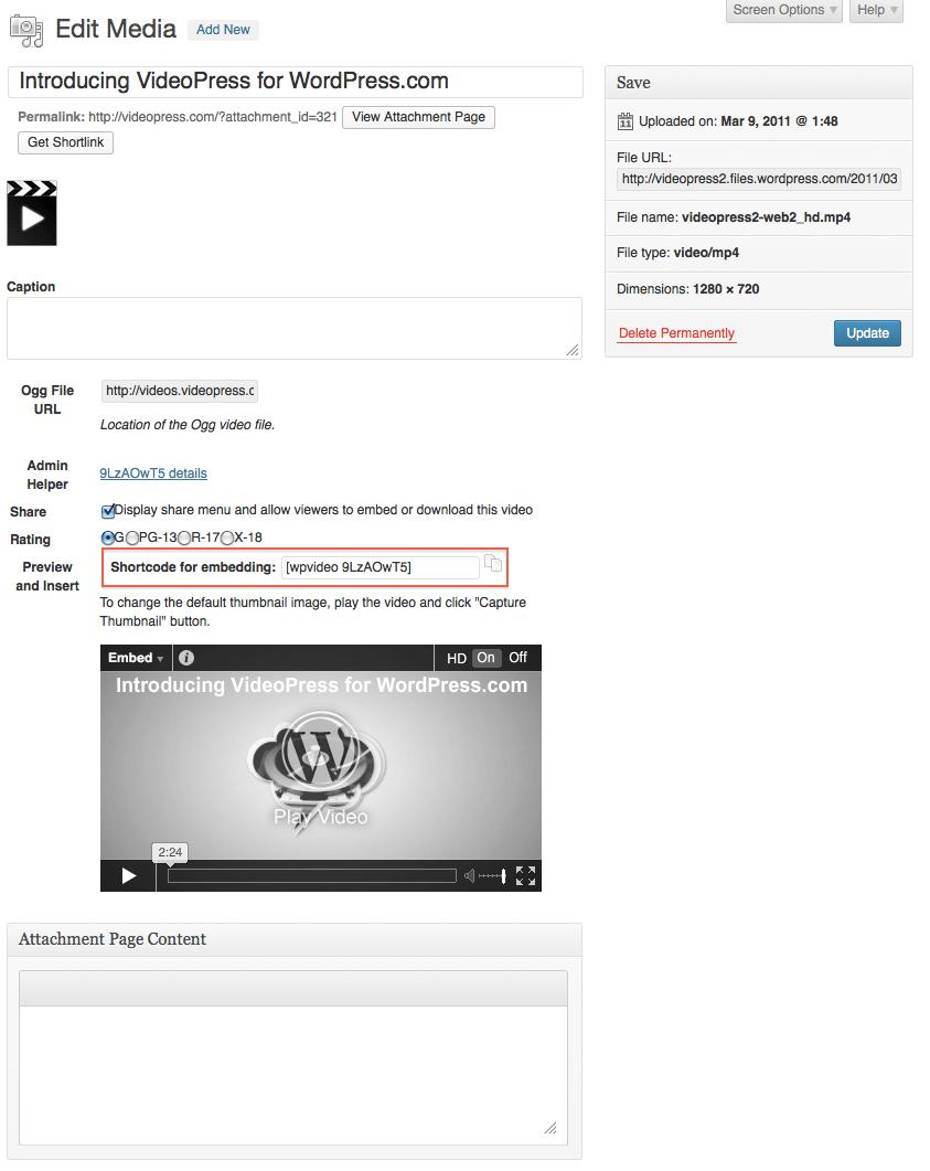 videopress details