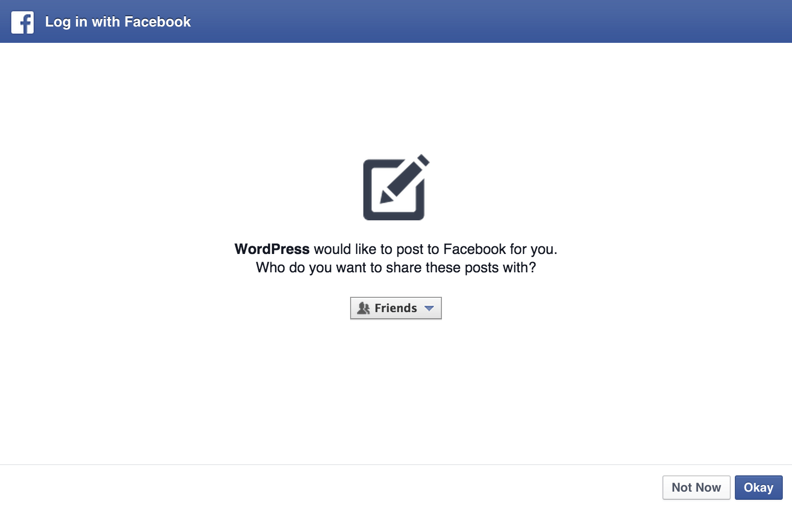publicize support wordpress com permission for facebook to post