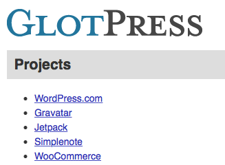 GlotPress Start Page