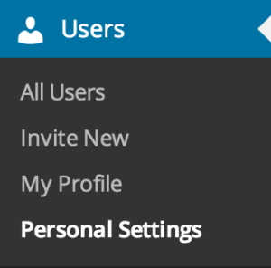 Personal Settings - Menu