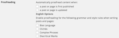 Personal Settings - Proofreading